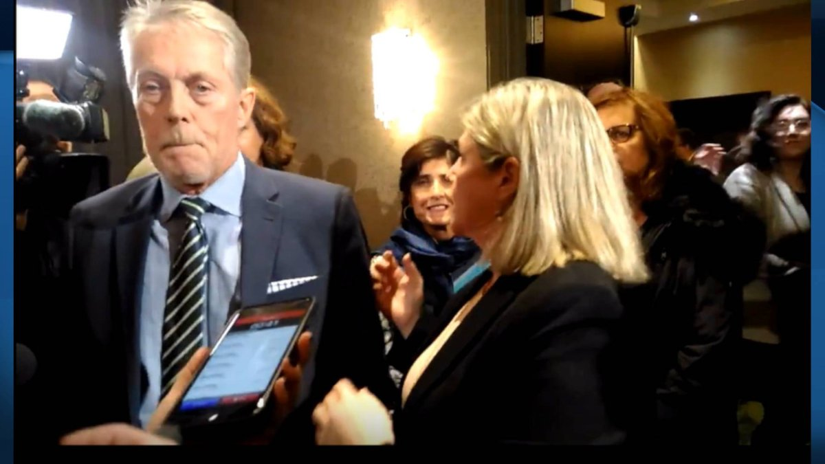 Hamilton Mayor Fred Eisenberger and Ontario NDP Leader Andrea Horwath at the downtown Sheraton after the province told them Hamilton's LRT project was cancelled on Dec. 16, 2019.