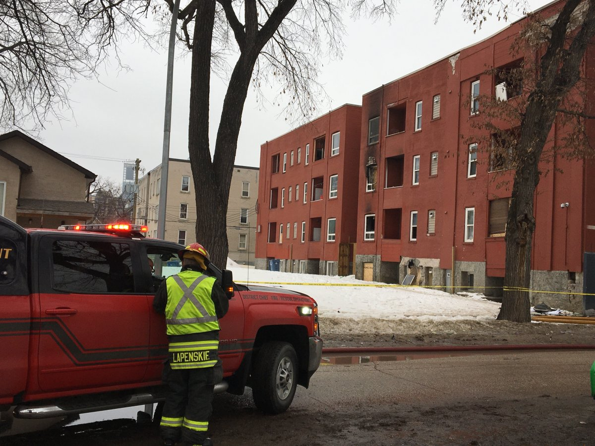 Crews were called to a fire at an apartment building on Furby Street on Tuesday morning.