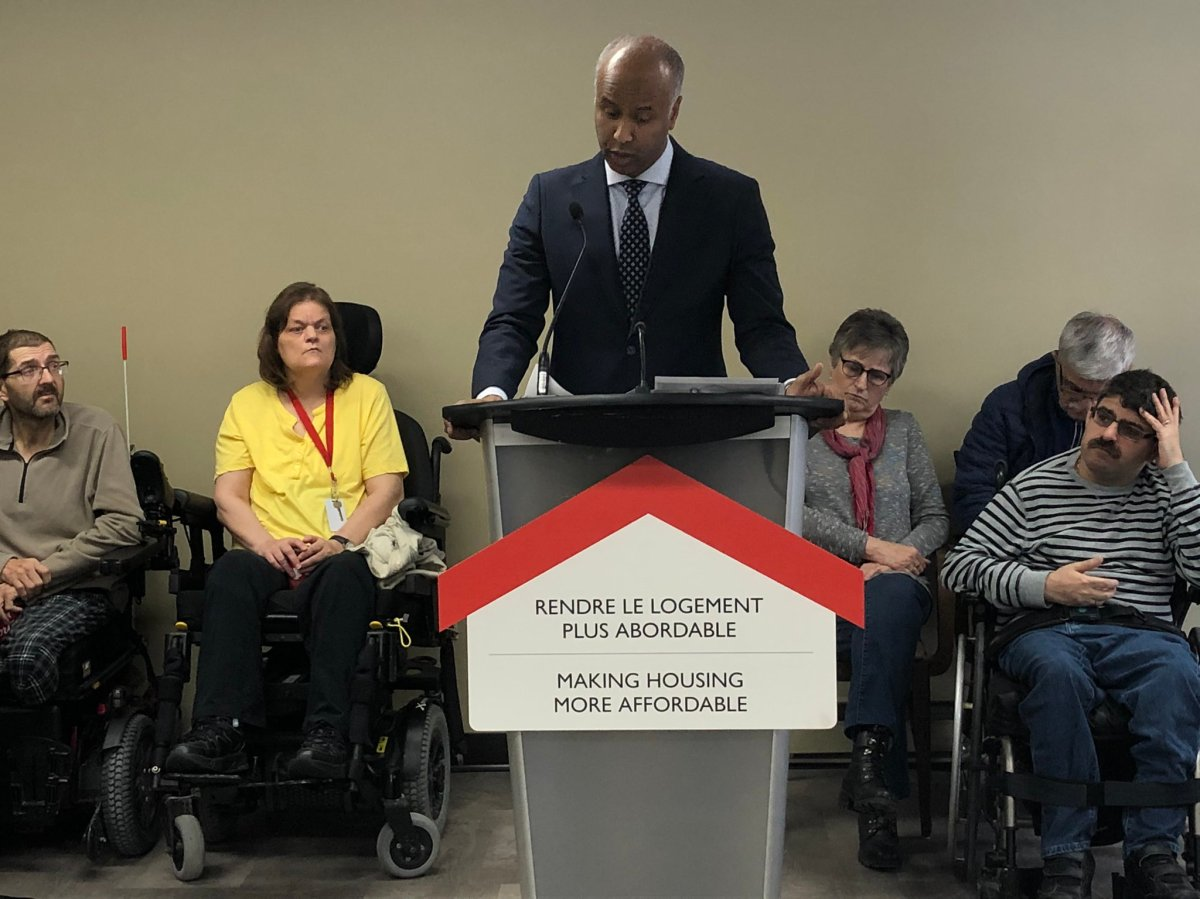 Federal social development minister Ahmed Hussen speaks in Moncton on March 2, 2020.