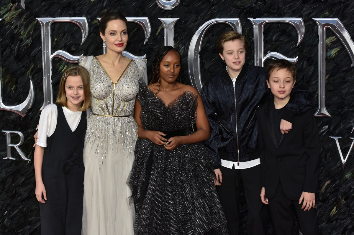 Vivienne Jolie-Pitt, Angelina Jolie, Zahara Jolie-Pitt, Shiloh Jolie-Pitt and Knox Leon Jolie-Pitt attend the 'Maleficent: Mistress of Evil' European premiere at the BFI IMAX Waterloo in London, U.K.