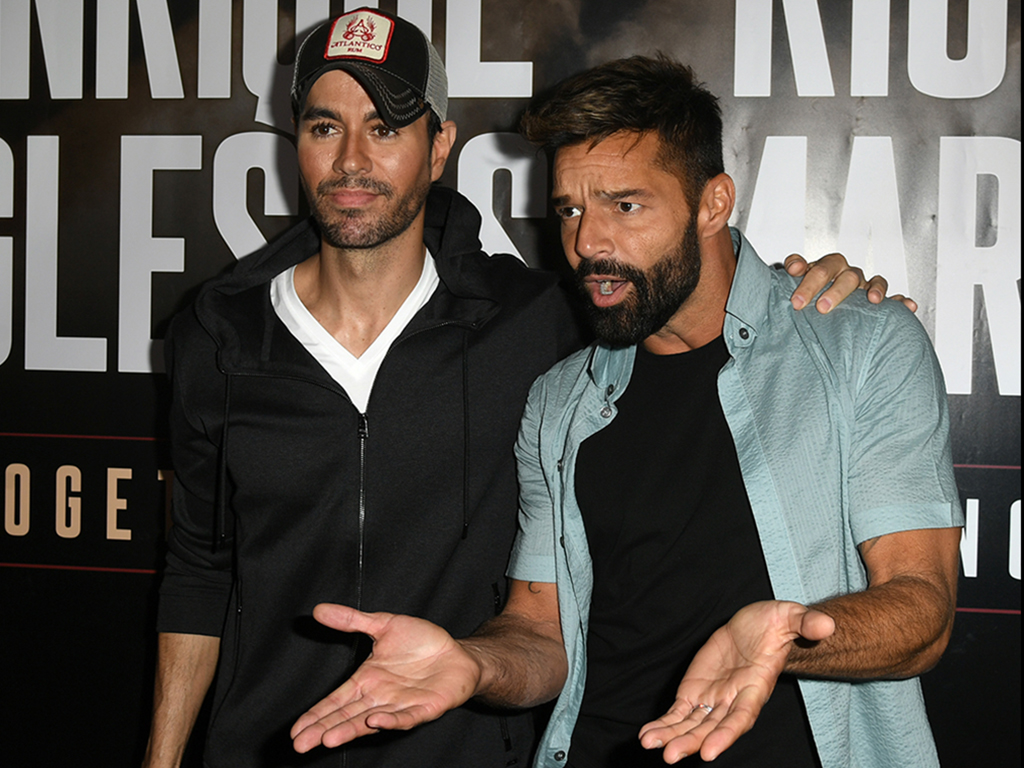 Enrique Iglesias (L) and Ricky Martin hold a press conference at Penthouse at the London West Hollywood on March 4, 2020 in Los Angeles, Calif.
