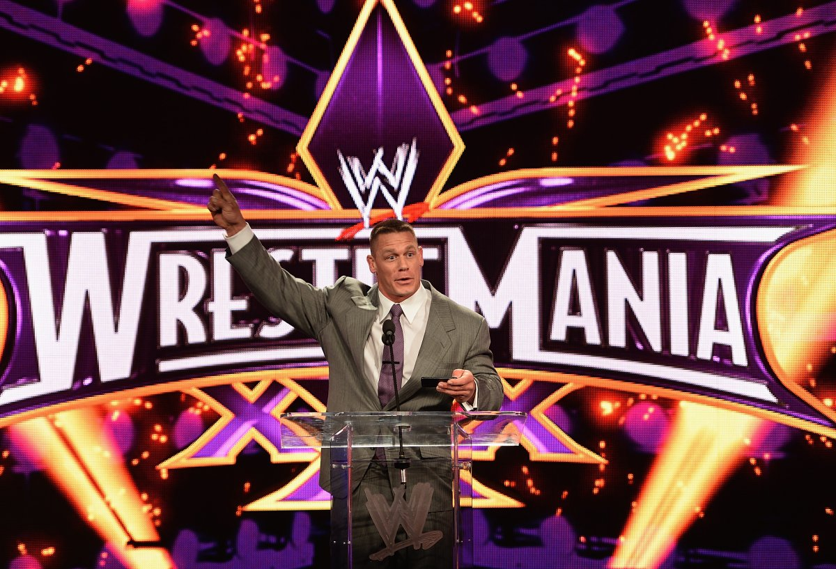 John Cena attends the WrestleMania 30 press conference at the Hard Rock Cafe New York in New York City in this file photo.