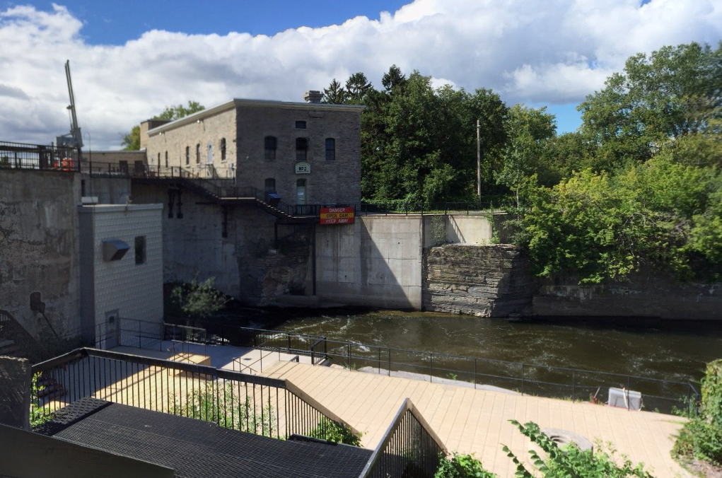 Ottawa police and firefighters saved a man stuck in a current that would have swept him in the direction of this Ottawa hydro station Monday evening.