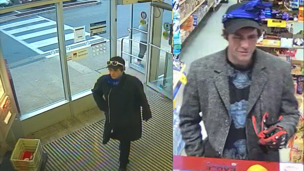 Hamilton police are looking for a man they say is connected to a robbery and a theft on the weekend. The suspect caught on surveillance video wore a black baseball cap, blue bandana, grey tweed coat, red gloves and tattoo on the left side of his neck.