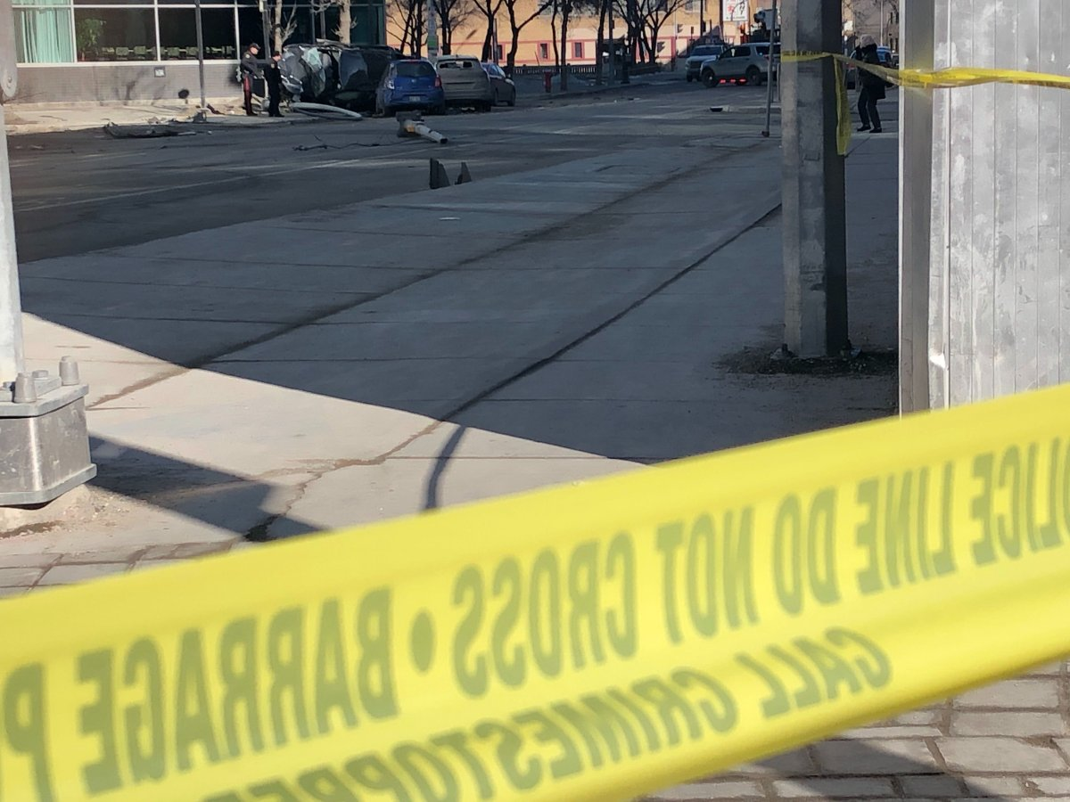 One person was taken to hospital following a crash in downtown Winnipeg.