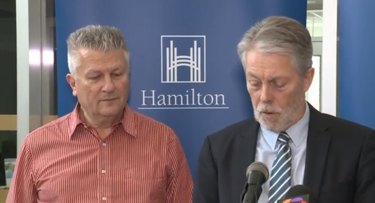 Dr. Bart Harvey and Mayor Fred Eisenberger during an COVID-19 update on March 12, 2020.