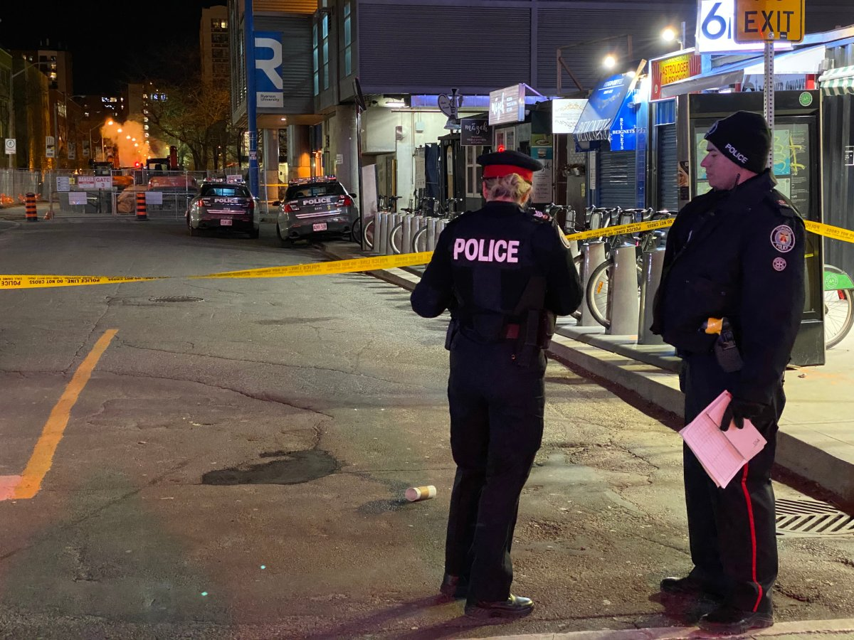 Toronto police attend the scene of a shooting on March 21.