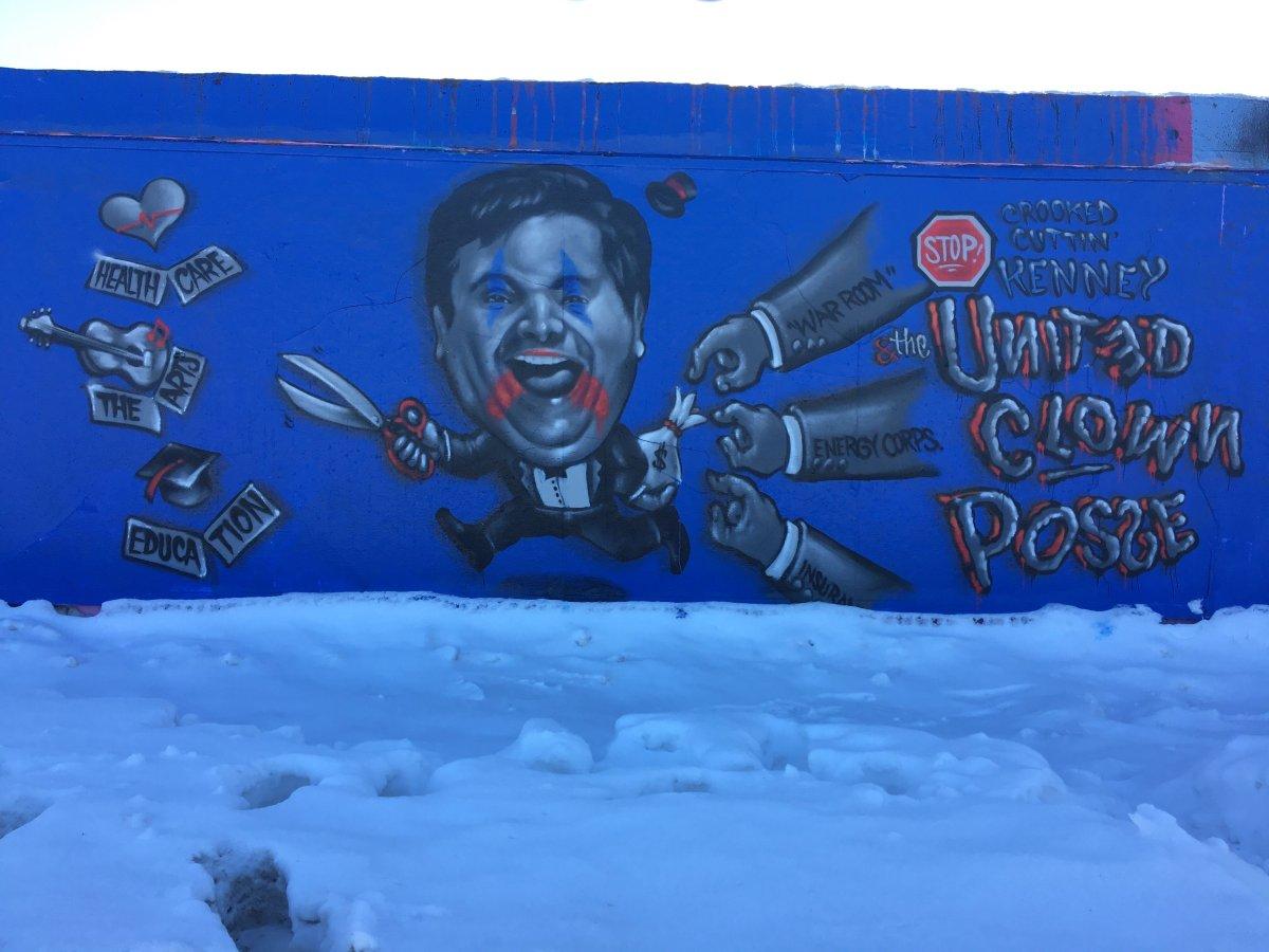 A satire mural featuring Jason Kenney by Edmonton artist AJA Louden.