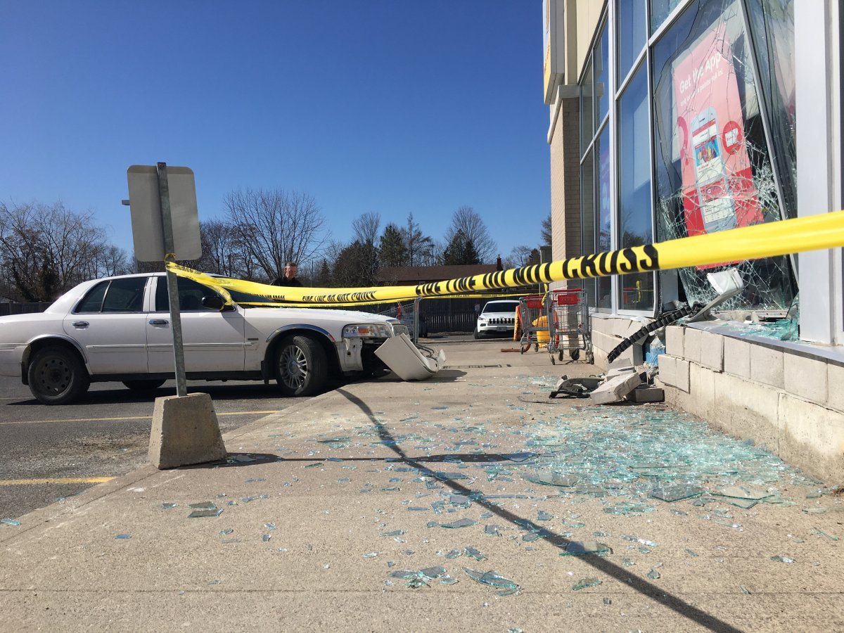 A man and woman were not injured after a vehicle they were in drove through the front window  of a Shoppers Drug Mart on Chemong Road in Peterborough on Sunday morning.
