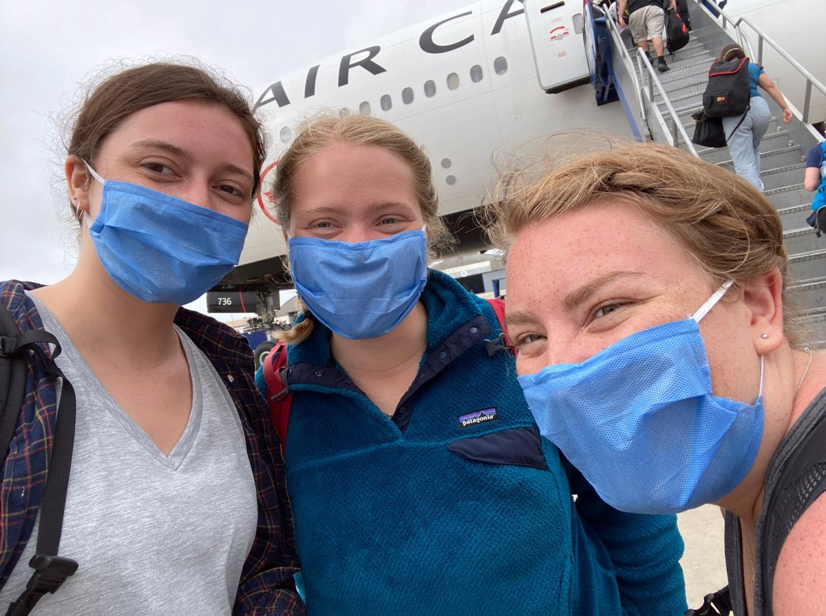 Winnipeggers (L-R) Anna McKinnon, Piper Larsen and Grace McMorris are glad to be home after being stuck in Peru after the borders closed to curb the COVID-19 pandemic.