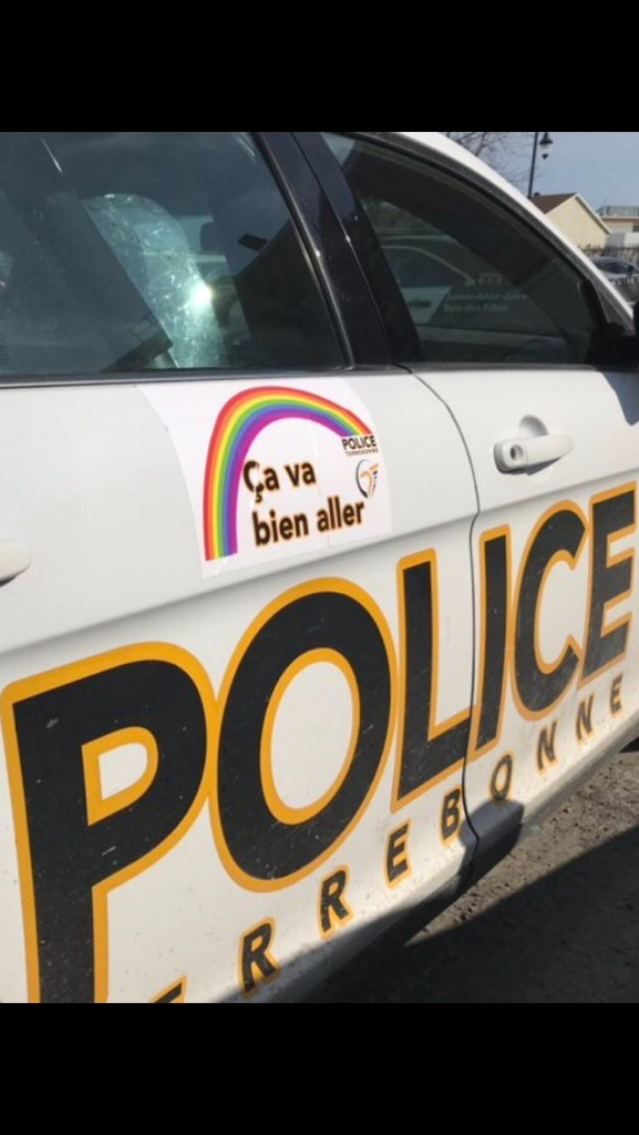 """Terrebonne police is also donning rainbow stickers on their patrol cars that say """"everything will be O.K."""" as a way to keep everyone's spirits uplifted. Friday March 27, 2020."""