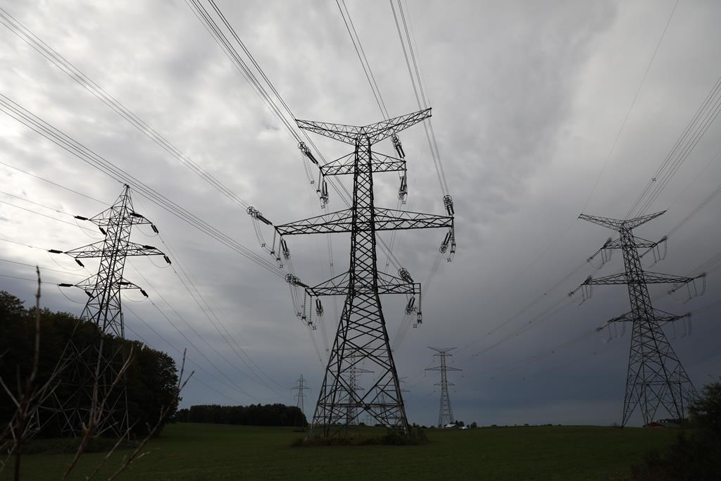Hydro One electricity transmission lines are seen south of Chesley, Ont., on Sunday, Sept. 29, 2019.