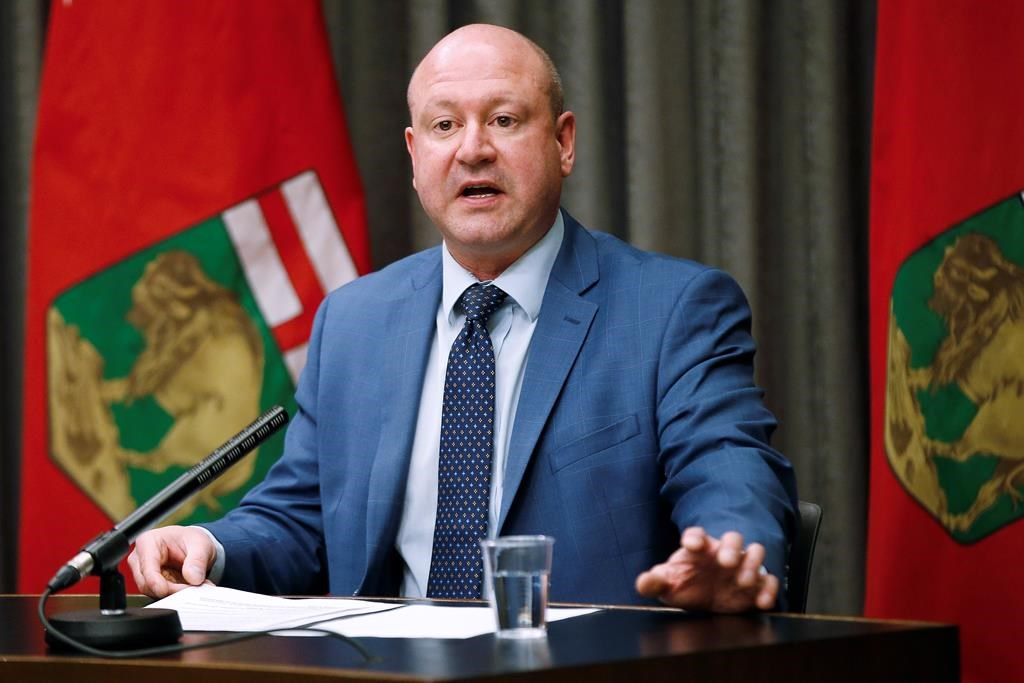 Dr. Brent Roussin, Manitoba chief public health officer, speaks during the province's latest COVID-19 update at the Manitoba legislature in Winnipeg Monday, March 23, 2020. THE CANADIAN PRESS/John Woods.