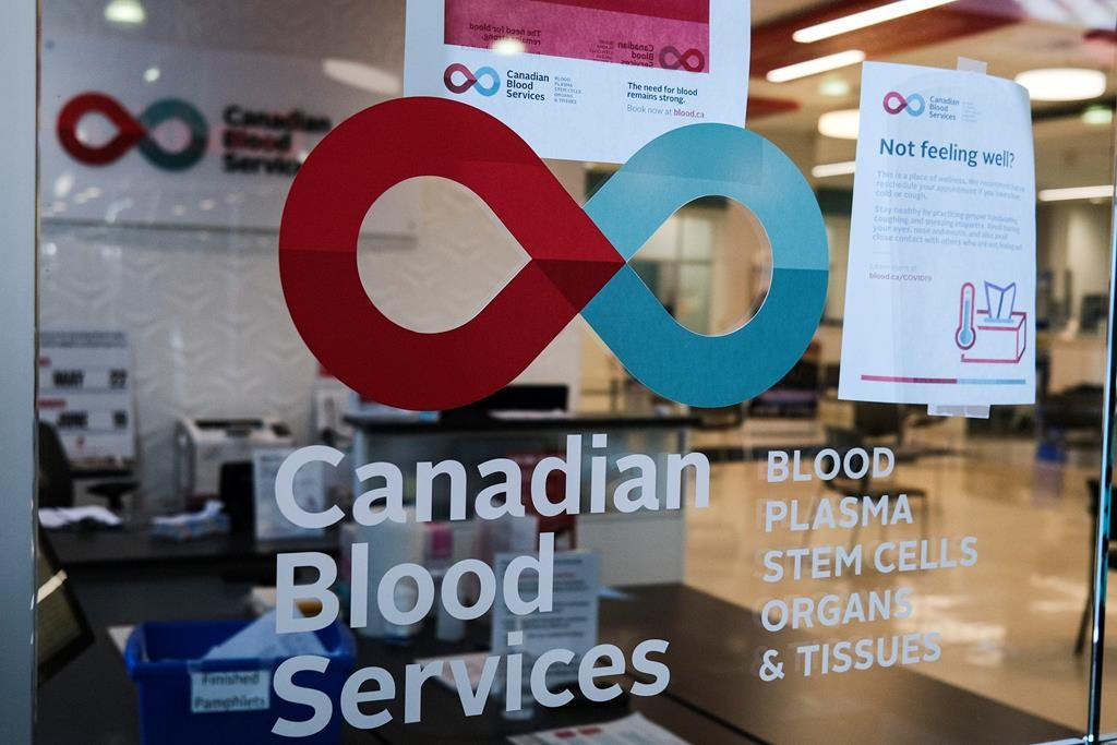 A blood donor clinic pictured at a shopping mall in Calgary, Friday, March 27, 2020, amid the worldwide COVID-19 pandemic.