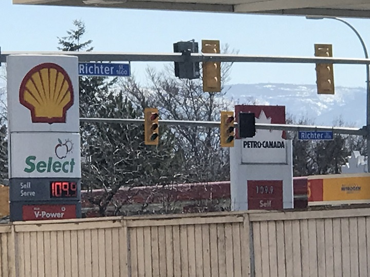 Prices at two gas stations in Kelowna, B.C., on Saturday, March 21, 2020.