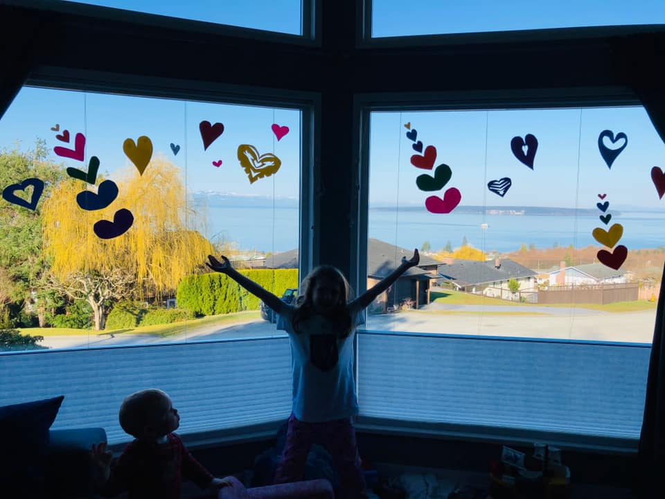 Hearts displayed in Laura Sigouin's Powell River window.