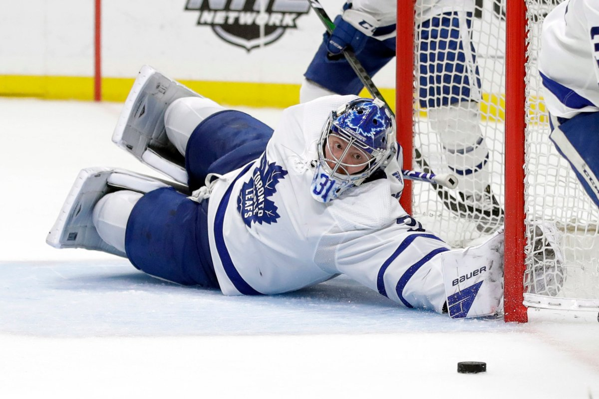 Toronto Maple Leafs goaltender Frederik Andersen stops a shot during the second period of an NHL hockey game against the Los Angeles Kings Thursday, March 5, 2020, in Los Angeles.