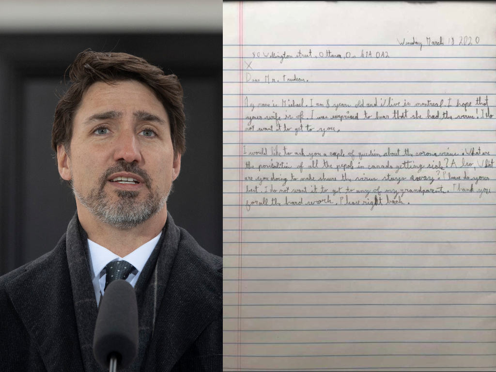 A Twitter user's eight-year-old son wrote a note to Justin Trudeau. The Prime Minister answered his questions on Twitter.