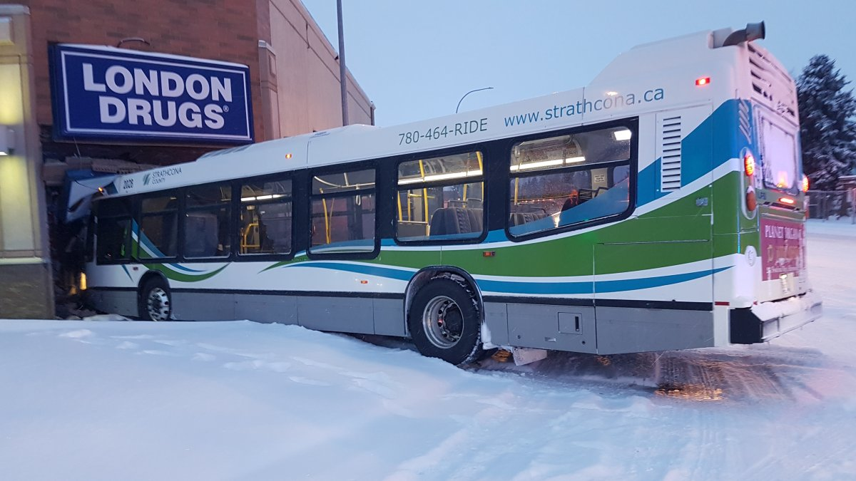 Two people were taken to hospital after a transit bus collided into a London Drugs store in Sherwood Park on March 31, 2020.