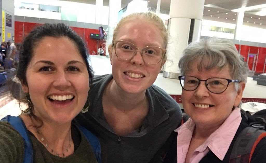 Maritimes-Guatemala Breaking the Silence workers (left to right) Indigo Christ, Laura Robinson and Lenora Yarike arrive at Pearson International Airport on March 23, 2020.