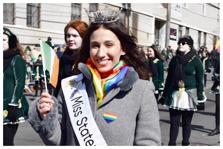 Madison L'Insalata, Miss Staten Island 2020, is shown at the St. Patrick's Day parade in her New York City borough on March 2, 2020.