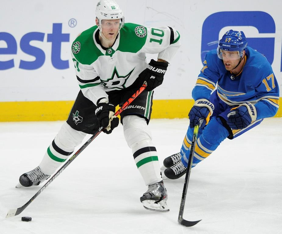 Dallas Stars' Corey Perry (10) looks to pass in front of St. Louis Blues' Jaden Schwartz (17) during the third period of an NHL hockey game, Saturday, Feb. 29, 2020, in St. Louis. (AP Photo/Bill Boyce).