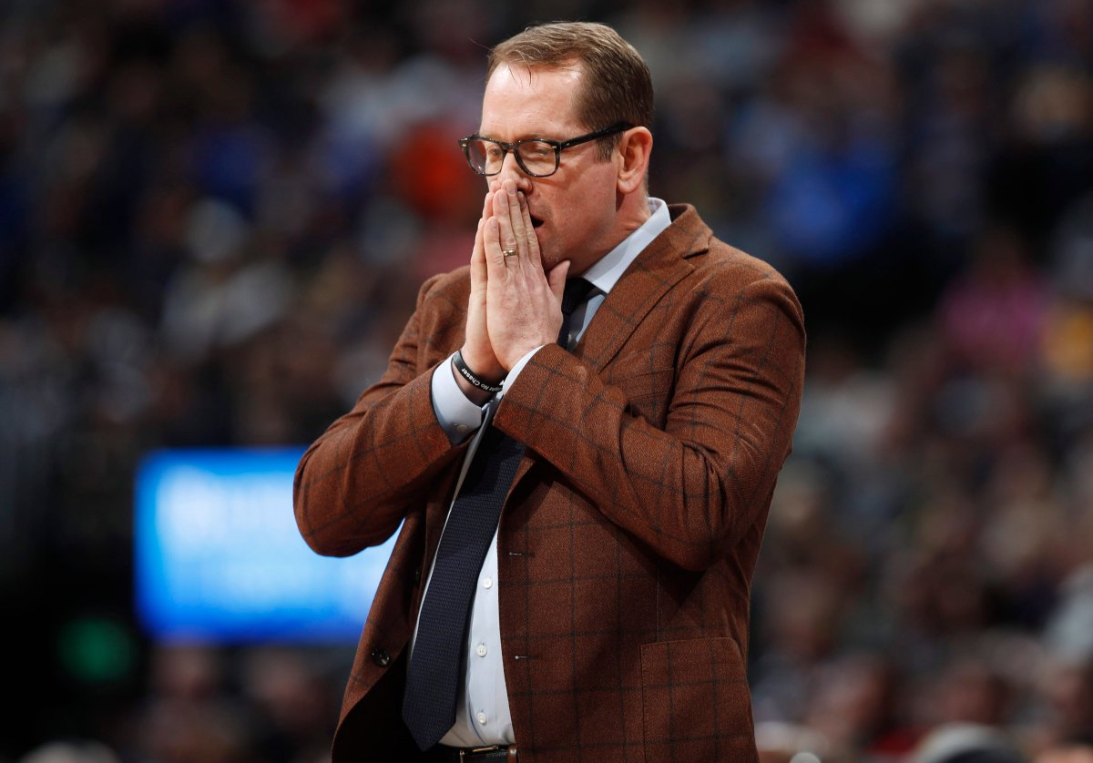 Toronto Raptors head coach Nick Nurse reacts in the first half of an NBA basketball game against the Denver Nuggets, Sunday, March 1, 2020.