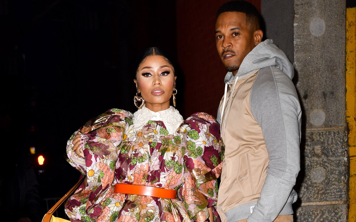 Nicki Minaj and Kenneth Petty arrive to the Marc Jacobs fashion show at Park Avenue Armory on Feb. 12, 2020 in New York City.