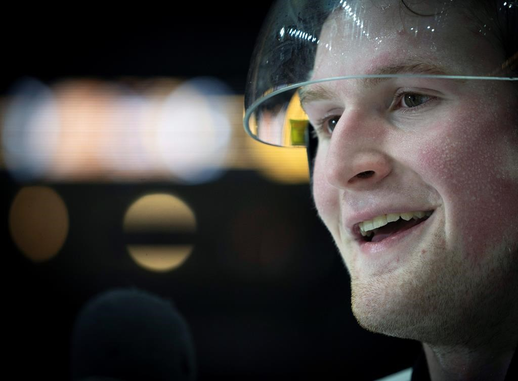 FILE - In this Jan. 16, 2020, file photo, Team White left winger Alexis Lafreniere smiles following hockey's CHL Top Prospects Game in Hamilton, Ontario. The Quebec native was landed by the New York Rangers as this year's number one draft pick. Tuesday, Oct. 6, 2020.