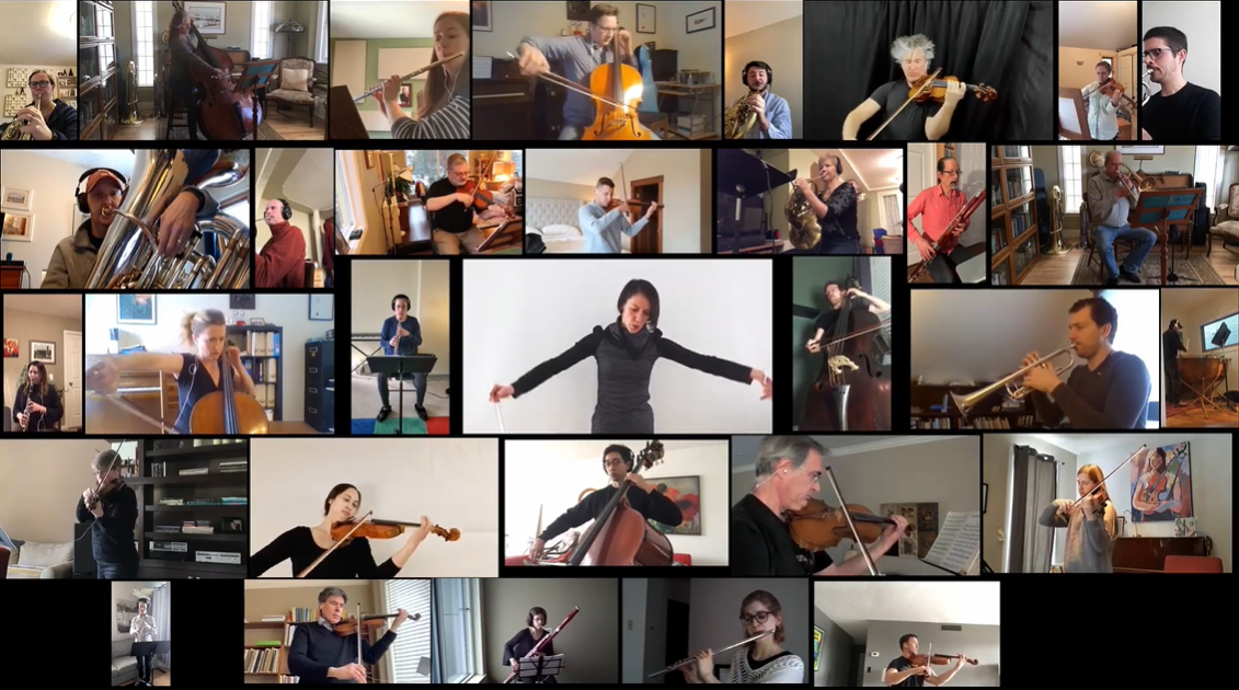 Performers with the Calgary Philharmonic and Edmonton Symphony orchestras put together a virtual online performance ahead during COVID-19 isolation.