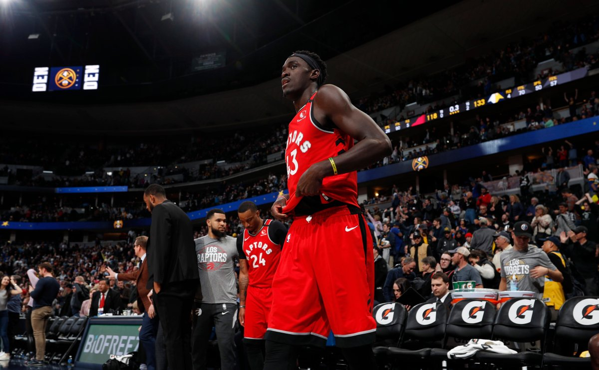 Toronto Raptors forward Pascal Siakam heads to the locker room as time runs out in the second half of an NBA basketball game against the Denver Nuggets Sunday, March 1, 2020. The Nuggets won 133-118.