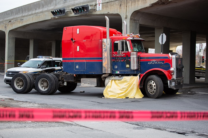 Longueuil police are investigating a fatal collision involving a truck and a pedestrian. Wednesday, March 18, 2020.