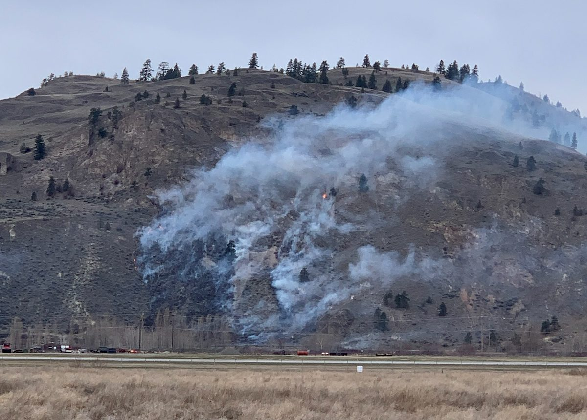 Penticton firefighters responded to a grass fire near the Penticton Airport on Sunday afternoon.
