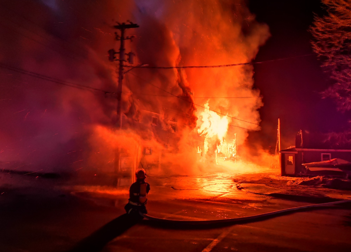 Fire rips through two buildings in Pictou, N.S., on Thursday, March 19, 2020.