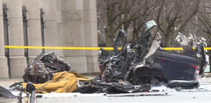 The scene of a single-vehicle collision at Toronto's Exhibition Place on Monday.