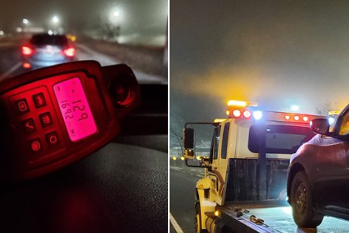 Waterloo Regional Police say the driver was travelling 129 km/h.