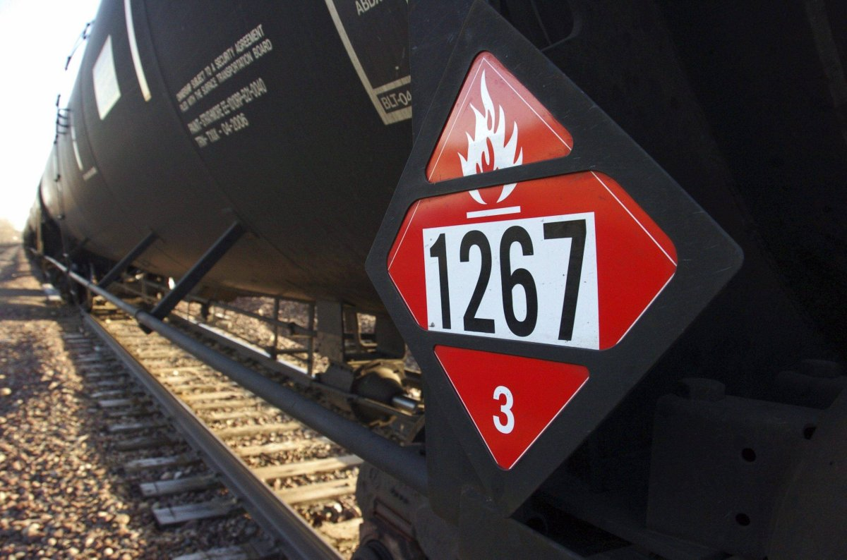 This Nov. 6, 2013, file photo, shows a warning placard on a tank car carrying crude oil near a loading terminal in Trenton, N.D.