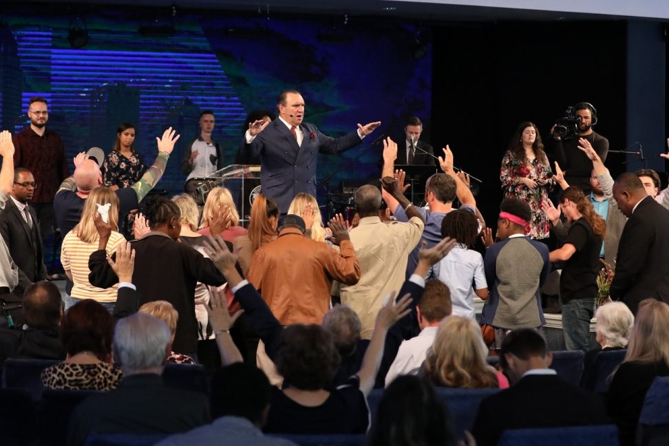 Pastor Rodney Howard-Browne is shown leading a service at the River at Tampa Bay Church in Florida on March 29, 2020.