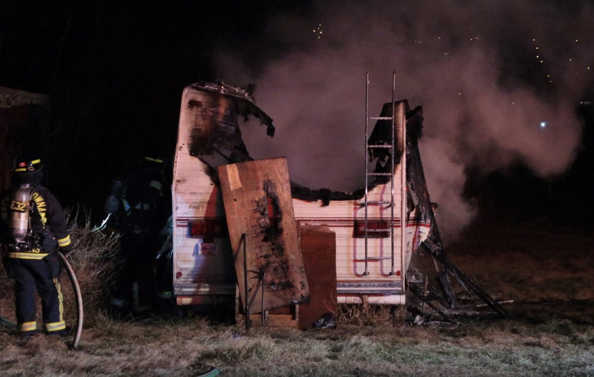 West Kelowna firefighters responded to an RV fire on Old Okanagan Highway Tuesday morning.