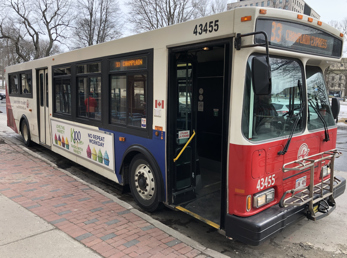 A bus sits outside Kings Square in Saint John on Tuesday, March 10, 2020.