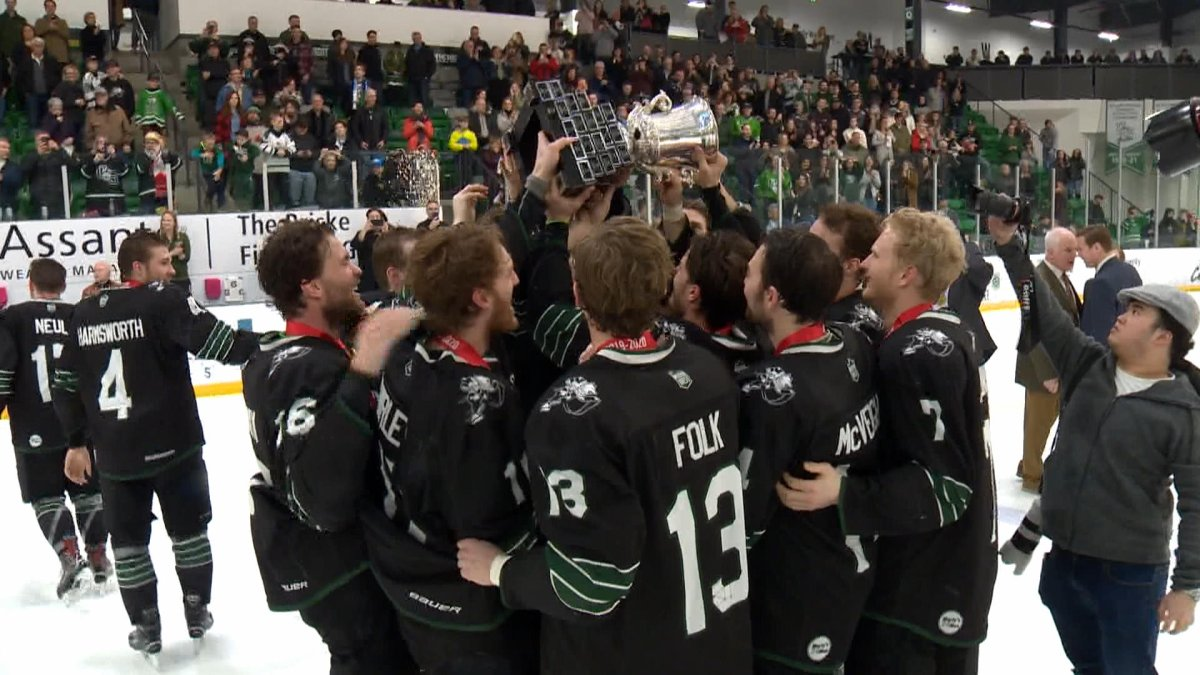 Saskatchewan Huskies celebrate their 11th Canada West title in team history. Their season came to a close with a loss to the Western Mustangs.