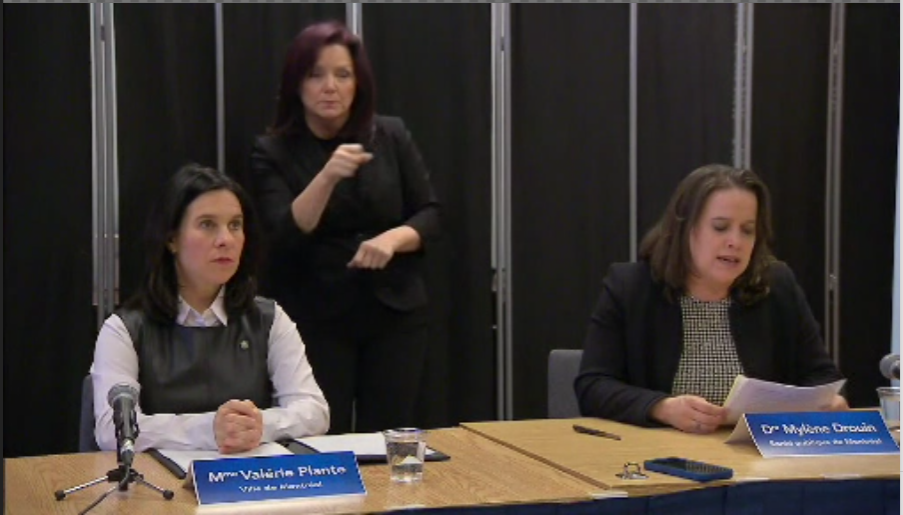 Montreal mayor Valérie Plante along with Montreal Health director Dr. Mylène Drouin during a press conference held on Thursday March 19, 2020.