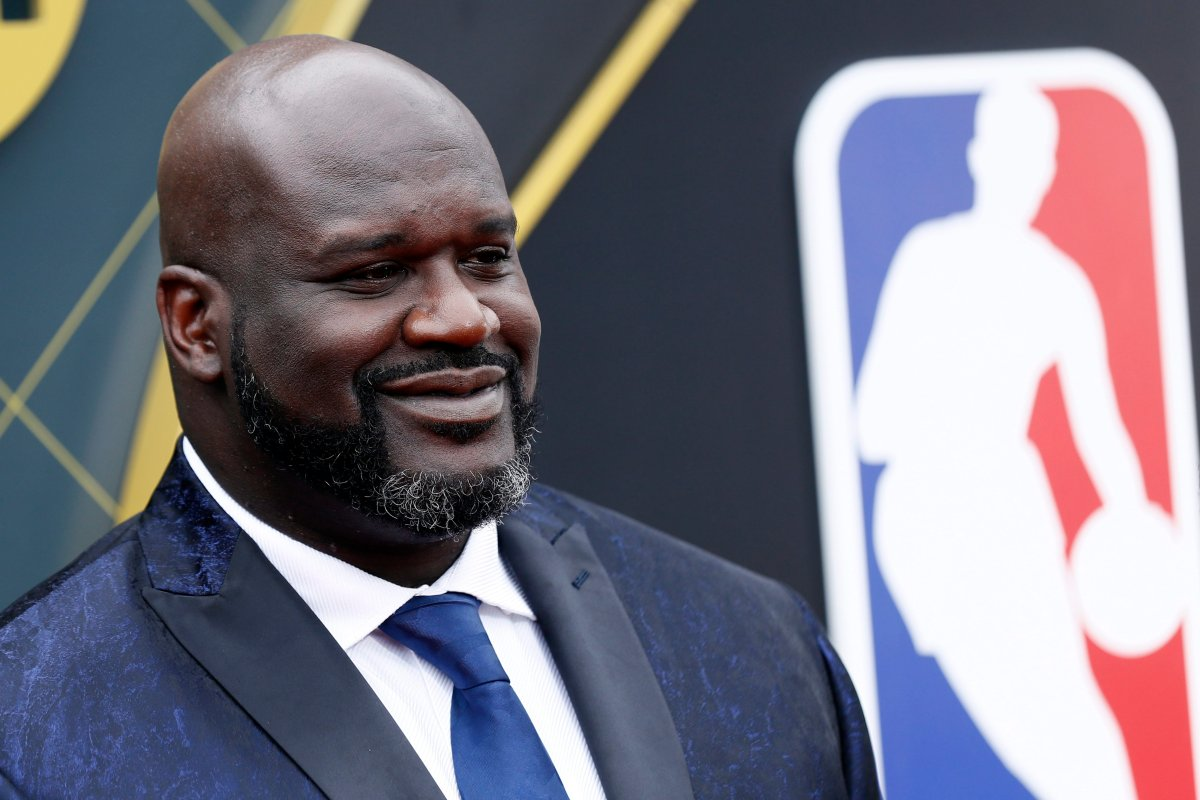 Shaquille O'Neal poses for photographers upon his arrival for the 2019 NBA Awards in Santa Monica, California, on June 24, 2019.