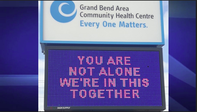 The Grand Bend Area Community Health Centre challenged locals through a Facebook post to brighten up the community with signs of support as the COVID-19 pandemic forces residents to stay indoors.