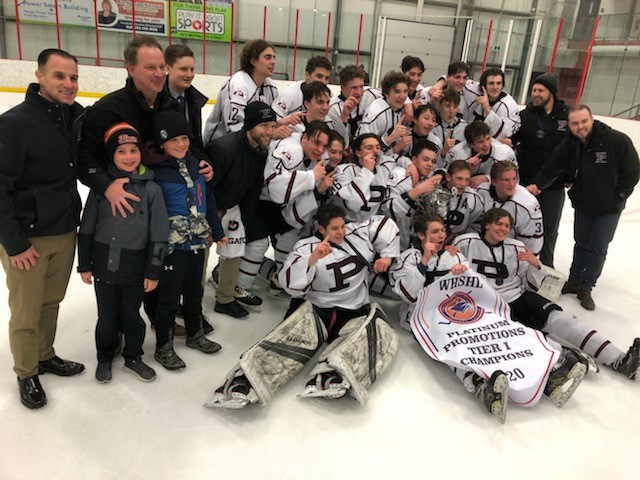 The St. Paul's Crusaders celebrate another city championship in high school hockey.