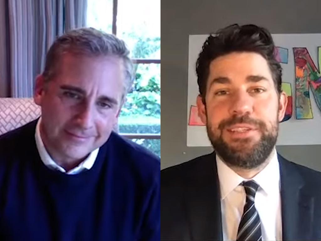 """(L-R) Steve Carell and John Krasinski of """"The Office"""" on the debut episode of Krasinski's YouTube series 'Some Good News' on March 29, 2020."""