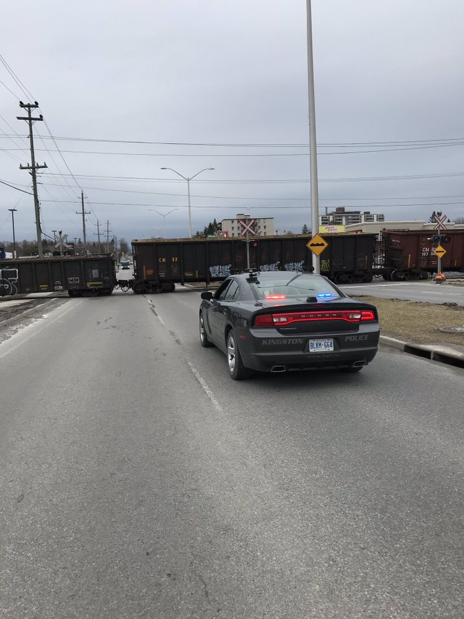 A train has derailed at Kingston's Bath Road crossing. This is the second derailment in that location this month.