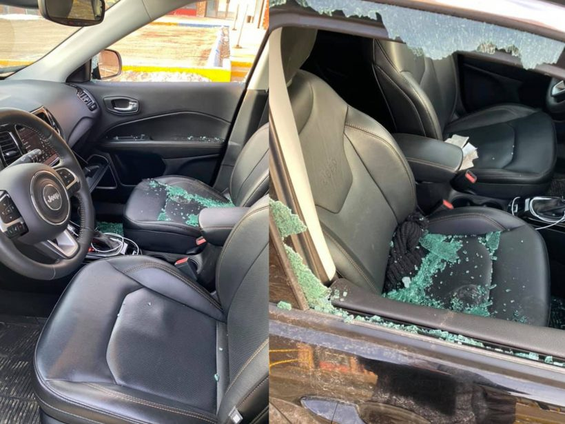 Photos of the vandalism done to Katelyn Butz's car outside St. Paul's hospital over the weekend.
