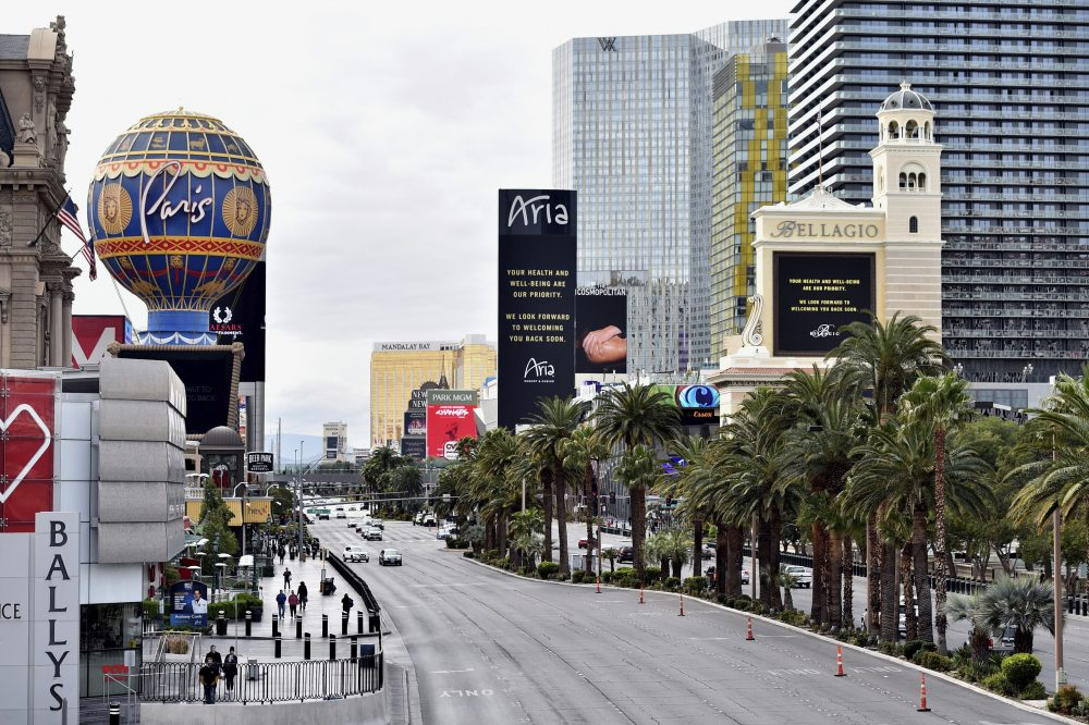 Las Vegas Boulevard is nearly empty after all casinos in the state were ordered to shut down due to the coronavirus Wednesday, March 18, 2020, in Las Vegas.