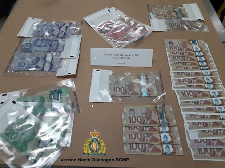 Vernon North Okanagan RCMP say several hundred dollars' worth of counterfeit currency was seized on Monday.
